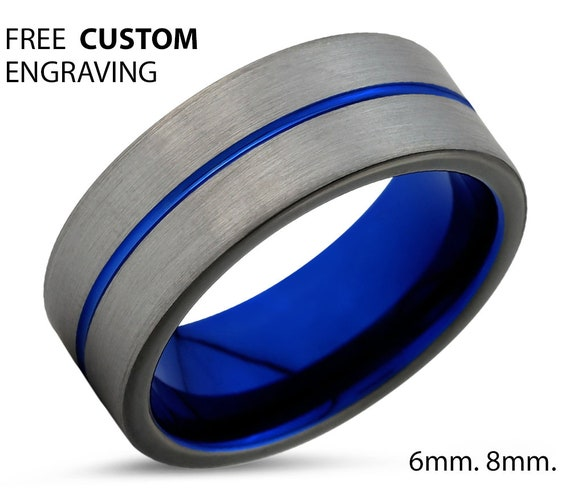 Brushed Silver Black Mens Wedding Band | Tungsten Carbide Ring in Blue 6mm or 8mm available | His or Her with Fast Free Shipping