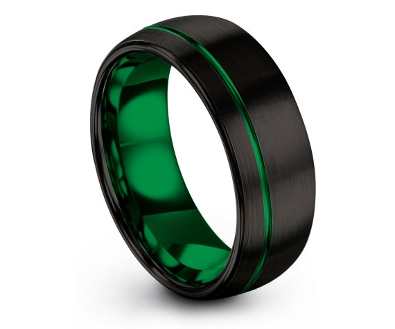 8mm Domed Black Tungsten Wedding Band   Mens Tungsten Band    Modern Mothers   Off Center Engraving   Tungsten Engagement Ring   Gifts