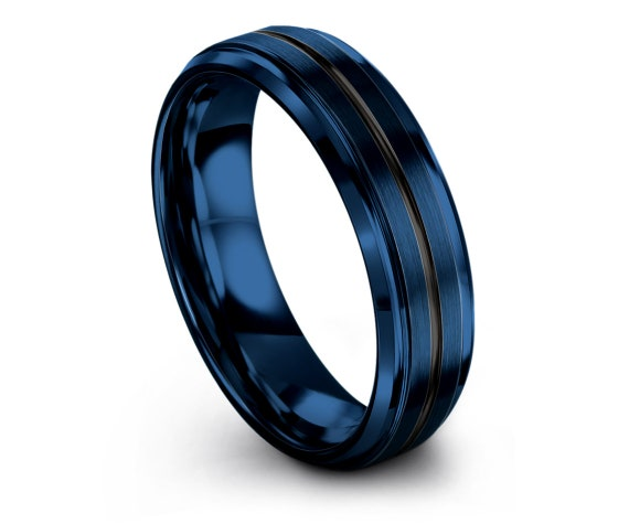 Blue Wedding Band,Fathers  Day Gift,Mens Black Rings Tungsten Wedding Band,Tungsten Carbide Men Ring,Ring For Woman,Unisex Ring,Gifts
