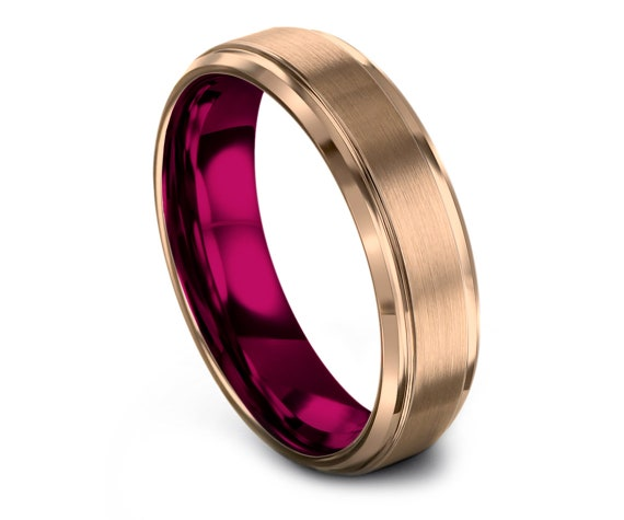 Wedding Bands Women Pink | Tungsten Carbide Ring 6MM Men | Tungsten Ring Women | Brushed Rose Gold Wedding Band | Gifts For Her | Matching