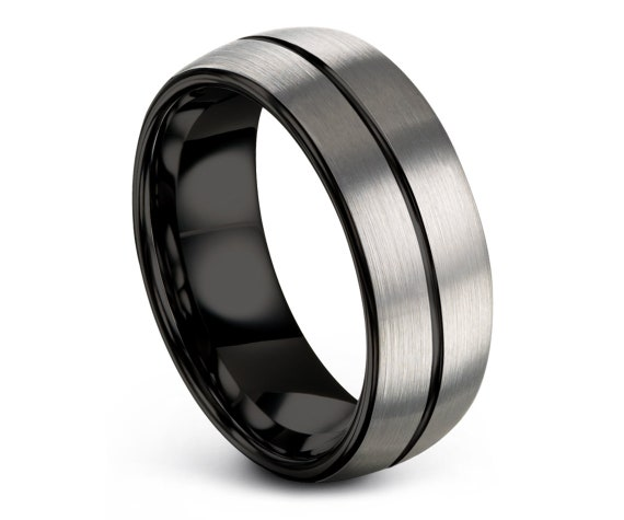 Domed Wedding Band | Mens Tungsten Wedding Band Silver | Tungsten Ring 8mm | Custom Engraving Ring | Promise Ring | Gift for Him | Mens Ring