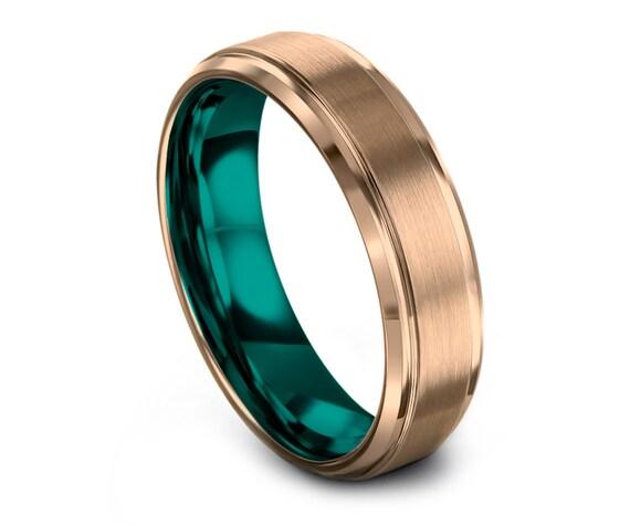 Brushed Teal Tungsten Ring |  Tungsten Wedding Band | Tungsten Carbide Ring | 18K Rose Gold | Engagement Rings | Promise Ring