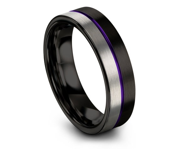 His and Hers Wedding Bands, Men's Tungsten Wedding Band, Black and Silver Brushed, Purple Thin Line Engraved Tungsten Band, Comfort Fit Band