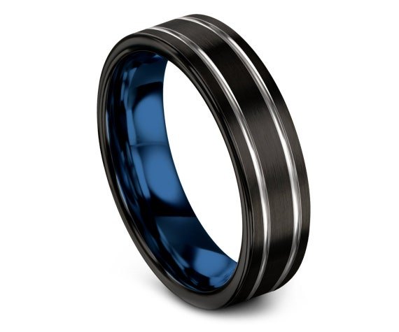 Mens Wedding Band Black, Silver Tungsten Rings For Women, Double Line Engraving Ring, Blue Wedding Band Tungsten, Personalized Gifts