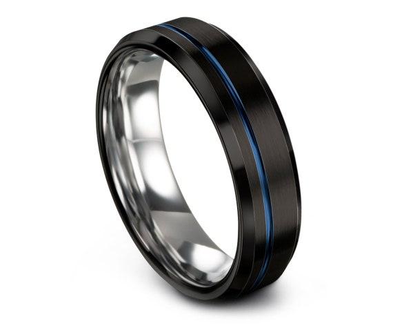 Black Silver Wedding Band Beveled | Tungsten Ring Set 6mm | Tungsten Wedding Band Men | Thin Blue Line Engraving | Matching Ring | All Size