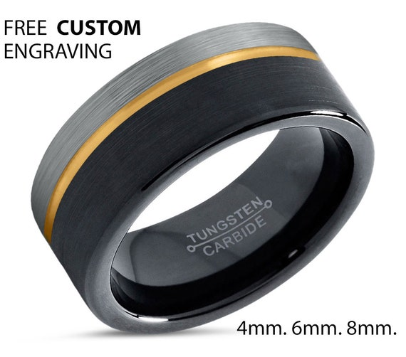 18k Yellow Gold with Offset Line | Two Tone with Brushed Silver and Black | 8mm Tungsten Carbide Ring | Unisex Wedding Band Comfort Fit