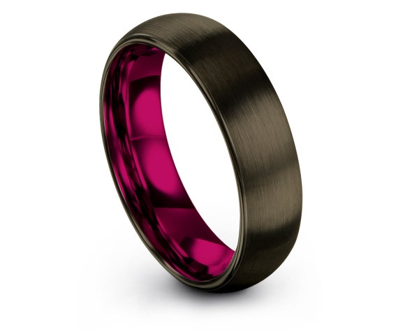 Matching Tungsten Wedding Band Gunmetal,Domed Tungsten Ring 6mm,Womens Pink Rings,Christmas Gifts For Him,Comfort Band,Couple Rings,All Size