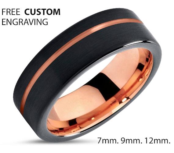 18k Rose Gold Plated Tungsten Men & Women Wedding Band | Valentines Day Best Friend Boyfriend Girlfriend Promise Ring Gift