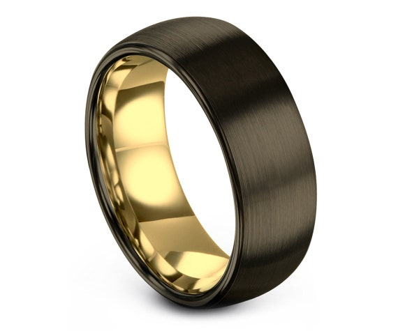 Yellow Gold Tungsten Wedding Band Set | Mens Wedding Band | Tungsten Engagement Ornament | Promise Ring | Gifts for Him | Free Shipping
