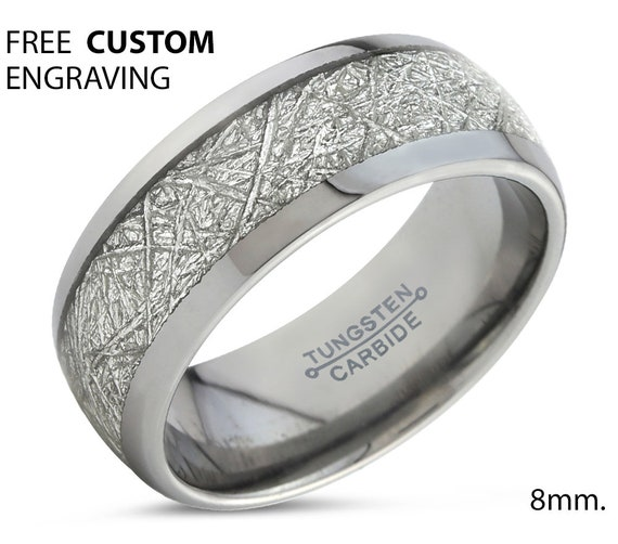 Polished Silver Dome Mens Wedding Band, Tungsten Carbide Ring 8mm with Fast Free Shipping and Custom Engraving Available