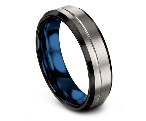 Silver Tungsten Wedding Ring,Engagement Ring,Offset Line Engraved Ring,Beveled Black Edge and Blue Inside Tungsten Carbide Ring,Comfort Fit