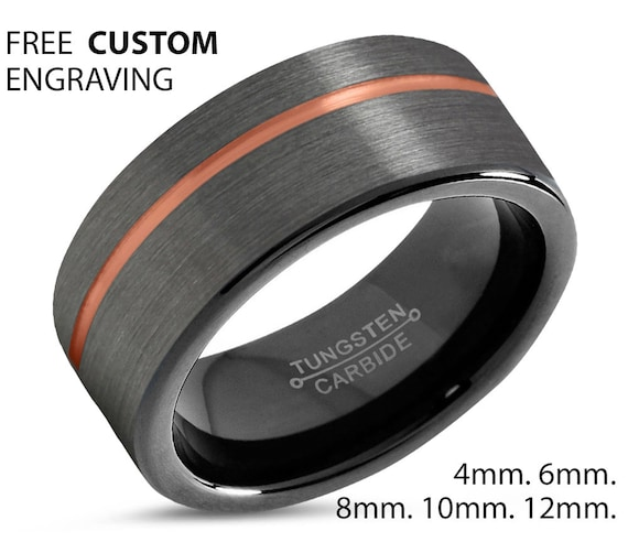GUNMETAL Tungsten Ring Rose Gold Black Wedding Band Ring Tungsten Carbide 8mm 18K Ring Unisex Anniversary Matching Gift Idea Custom Jewelry