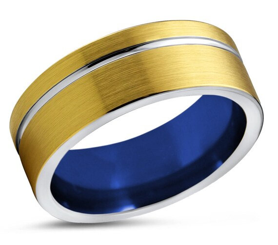 Mens Wedding Band Blue, Tungsten Ring 18 Karat Yellow Gold Plated, Engagement Ring, Promise Ring, Rings for Men, Rings for Women
