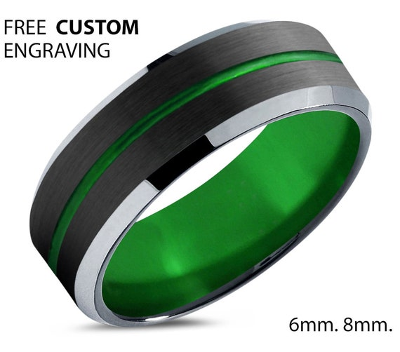 Green Unique Unisex Tungsten Wedding Band - His & Hers Black Promise Ring - Silver Edges - Free Custom Personalized Engraving - 50% OFF