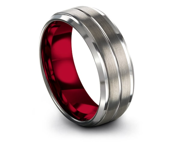 Beveled Tungsten Band Silver Grey, Wedding Set, Red Inside with Silver Brushed, Tungsten Engagement Ring, Center Engraving, Gift For Her