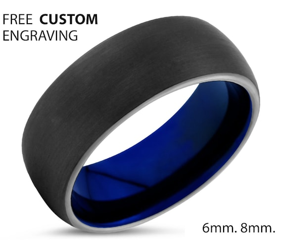 Blue Personalized Free Interior Engraving Tungsten Ring • Boyfriend Jewelry • Girlfriend Jewelry •Pet Ring •Wedding Band • Gunmetal