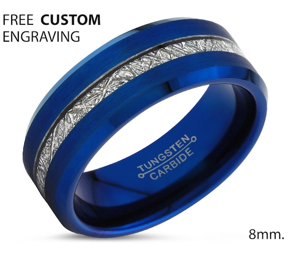 Blue Meteorite Tungsten Beveled Edge Ring for Men & Women | Unique Blue Interior Personalized Wedding Band | Promise Engagement Gift