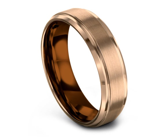 Personalized Ring Copper, Tungsten Copper Wedding Band, Mens Wedding Band, 18K Rose Gold Tungsten Ring, Custom Rings, Engagement Ring
