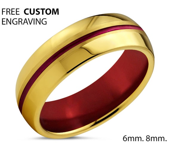 Unique 18k Yellow Gold with Red Center Line and Red Interior Dome Wedding Ring | Free Custom Engraving | Perfect Gift Idea | Free Shipping