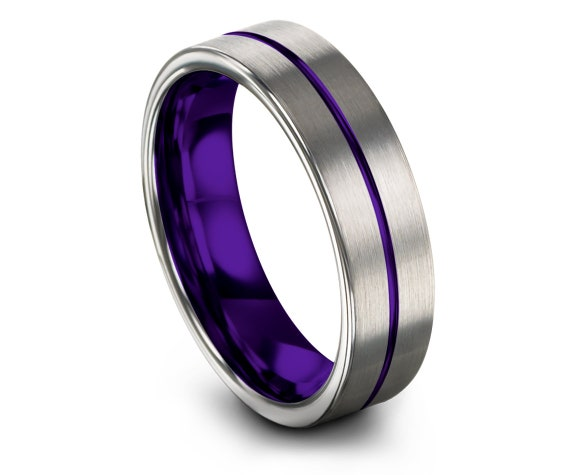 Flat Tungsten Ring Mens Silver   Rustic Wedding Band   Mens Purple Rings   Center Engraved Ring   6mm   Gift For Brother   His and Her