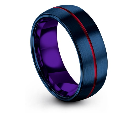 8mm | Mens Comfort Ring Domed | Brushed Blue Tungsten Ring | Mens Purple Ring | Engraved Wedding Band | Personalized Gifts | Wedding Gifts