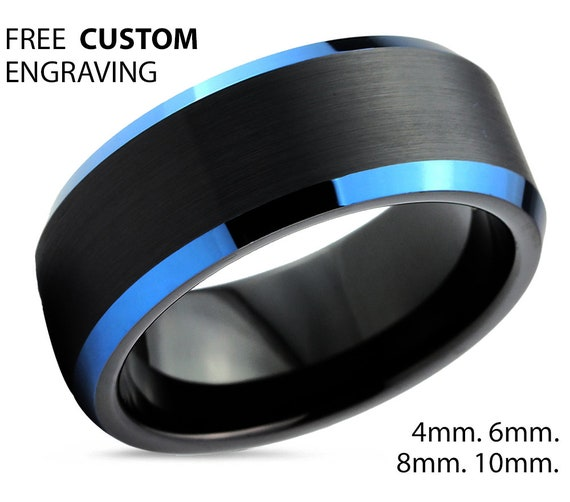 Mens Wedding Band Blue, Black Tungsten Ring, Mens Wedding Ring, Promise Ring, Engagement Ring, Rings for Men, Rings for Women, Personalized