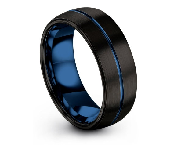 Wedding Rings Set,Womens Black Rings,His and Hers Wedding Band Set,Center Blue Engraving,Fathers Day Ring,Anniversary Gifts,Gifts For Her