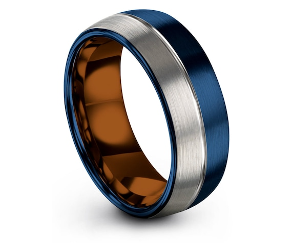 Personalized Engraving Ring Copper,His and Hers Wedding Bands,Mens Blue Rings,Center Line Engraving,Brushed Silver Ring,Couple Matching Ring