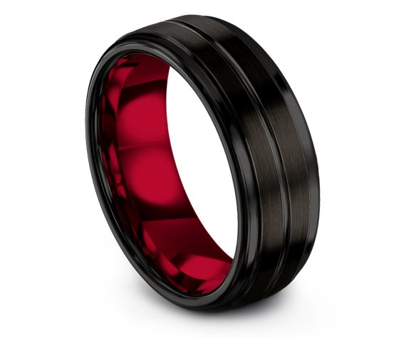 Black Ring For Mens | Tungsten Carbide Wedding Band | Red Tungsten Ring Women | His and Hers Rings | Matching Band | Free Engraving