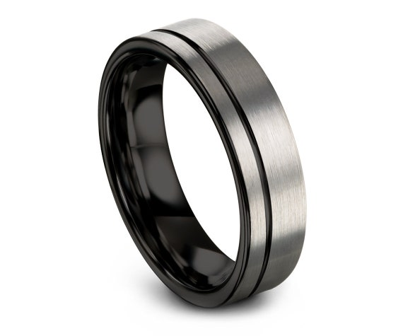 Flat Wedding Band Ring,Tungsten  Engagement Ring,Silver Brushed Tungsten Ring,Tungsten Carbide 6mm Rings,Thin Ring,Anniversary Matching Ring