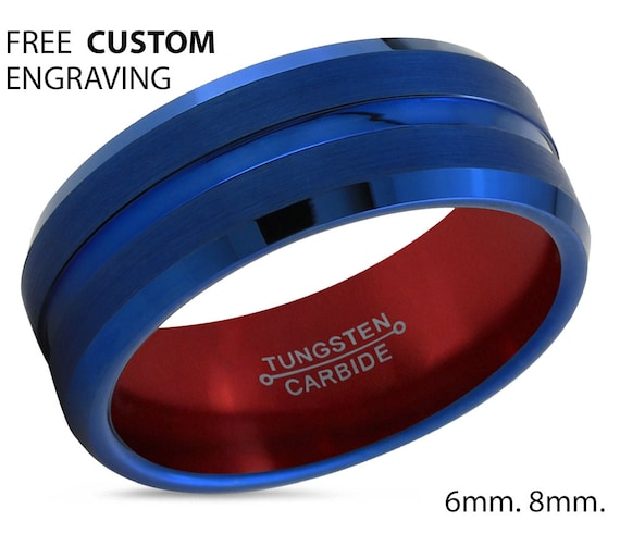 Mens Wedding Band Blue, Tungsten Ring Red 8mm, Mens Ring, Engagement Ring, Promise Ring, Rings for Men, Rings for Women, Wedding Rings