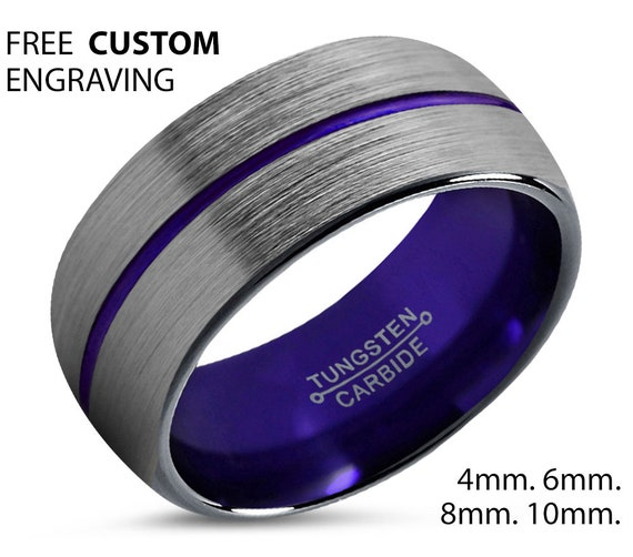 Purple Line Mens Wedding Band, Handmade Personalized Custom Engraving Tungsten Carbide Engagement Jewelry Ring for Him Free Shipping