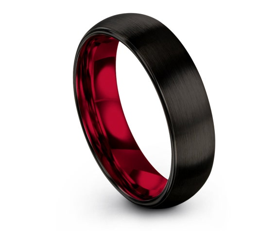 Black Red Domed Brushed Ring,Wedding Band Tungsten,Tungsten Ring 6mm,Engagement Ring,Wedding Ring Set,Personalized Jewelry Ring,Gift for Him