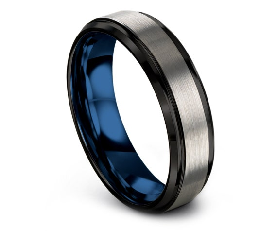 Custom Tungsten Ring Beveled,Black Silver Wedding Band,Blue Tungsten Ring Women,Wedding Band Tungsten,Personalized Gift For Papa,Couple Ring