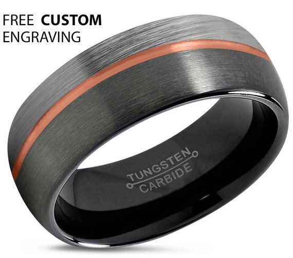 GUNMETAL Mens wedding band, Rose Gold Black Wedding Ring, Tungsten Carbide 8mm 18K, Engagement Ring, Promise Ring, Mens Ring, Gifts for Him