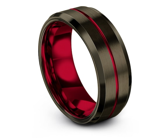 Beveled Men's Wedding Band Red,8mm Brushed Tungsten,Center Engraved Ring,Mens Gunmetal Ring,His and Hers,Personalized Gifts,Wedding Gifts