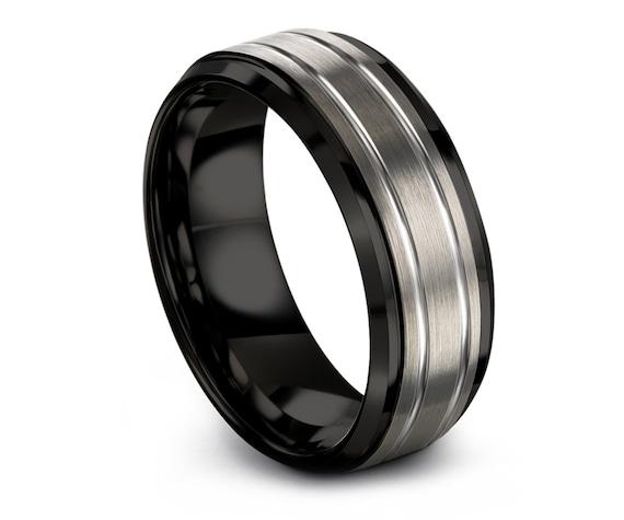 Beveled Tungsten Wedding Band,Personalized Band, Double Line Engraving,Rings For Wedding,Engagement Ring,Promise Ring For Him,Rings for Men