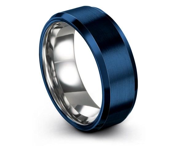 Silver Tungsten Wedding Band Men | Blue Tungsten Carbide Wedding Band | Blue Brushed Tungsten Ring | Gifts For Her | Matching Ring