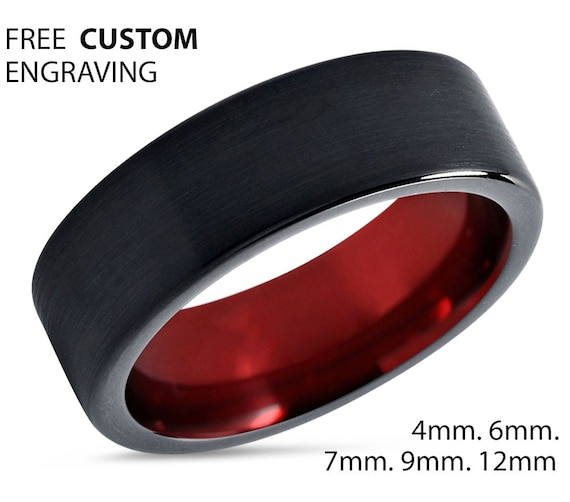 Mens Ring Black, Mens Wedding Band Red 7mm, Tungsten Ring, Engagement Ring, Promise Ring, Rings for Men, Rings for Women, Black Ring