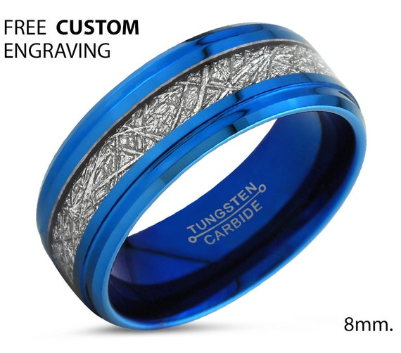 Blue Meteorite Tungsten Step Beveled Ring for Men & Women | Unique Blue Interior Personalized Wedding Band | Promise Engagement Gift