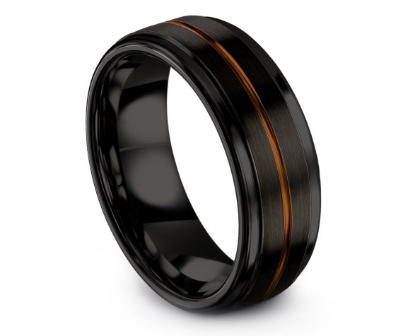 Step Edge Tungsten Ring Black, Mens Women Tungsten Wedding Band, Promise Ring For Him, Handmade  Ring, Free Engraving, 4mm, 6mm, 8mm, 10mm