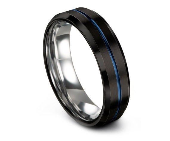 Black Tungsten Wedding Band Beveled,Silver Tungsten Ring,Center Engraved Blue Ring,Unique Wedding Band,Band For Men,Promise Ring,Gifts