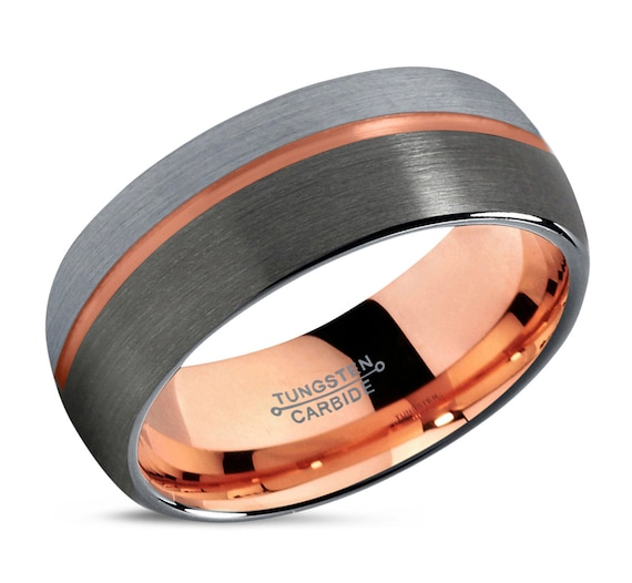 GUNMETAL Tungsten Ring Rose Gold Black Wedding Band Ring Tungsten Carbide 8mm 18K Ring Man Wedding Band Male Women Anniversary Matching