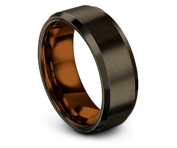 Copper Tungsten Carbide 8mm Beveled,Gunmetal Tungsten Band,Comfort Tungsten Engagement Ring Set,Wedding Band Tungsten,Best Friend Gifts