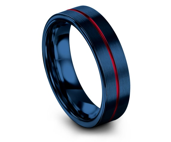 Round Cut Tungsten Ring Blue,Center Engraving Red Line,Red Tungsten Wedding Band Set,His and Hers,Anniversary Ring,Gifts For Him,6mm 8mm