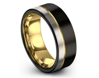 18k Yellow Gold with Offset Line | Two Tone with Brushed Silver and Black | 9mm Tungsten Carbide Ring | Unisex Wedding Band Comfort Fit