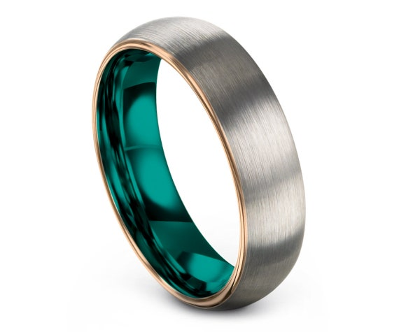 Rings For Women | Domed Tungsten Wedding Band Silver | Mens Wedding Band Teal | Tungsten Ring Men Rose Gold | 4mm | 6mm | 8mm | 10mm