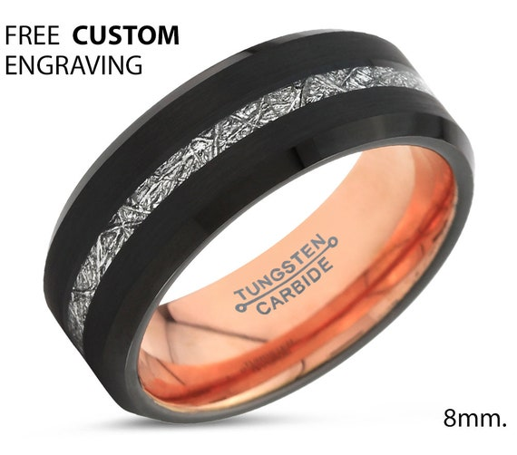 Black Meteorite Beveled Tungsten Ring for Men & Women | Unique Rose Gold Interior Personalized Wedding Band | Promise Engagement Gift