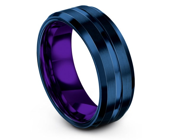 8mm Engagement Ring | Purple Tungsten Wedding Ring Mens | Center Engraved Ring | Blue Tungsten Ring | Gifts For Fathers | Gifts for Him