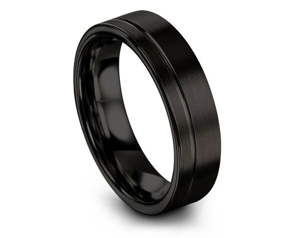 Flat Tungsten Ring Black,Women Tungsten Ring,Wedding Band 6mm,Tungsten Carbide Ring Blank,Engagement Ring,Couple Infinity Ring,Custom Ring